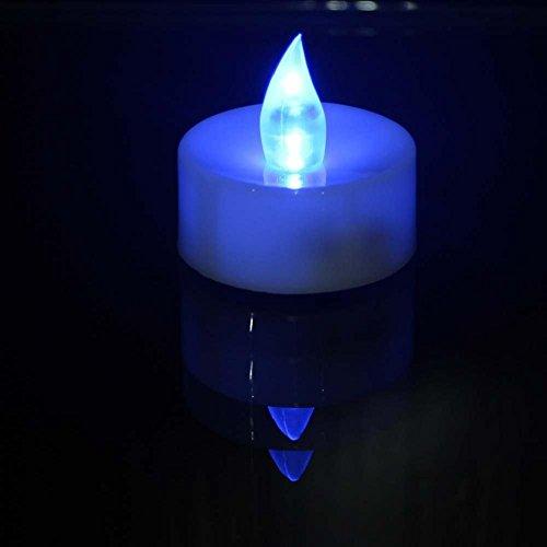 Atcoe luz de las velas Batería operado LED azul helado Flameless parpadeo parpadeo velas ligeras del té, paquete de 24