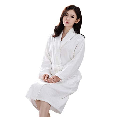 TEBAISE Unisex Bademantel mit Kapuzen für Damen - Morgenmantel mit Baumwollfrottee - 2 Taschen, Gürtel - Saunamantel Weich Saugfähig und Bequem