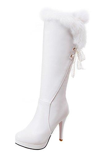 YE Plateau High Heel Stiletto Schnürstiefel mit Fell Elegant Fashion 11cm Absatz Warm Gefütterte...