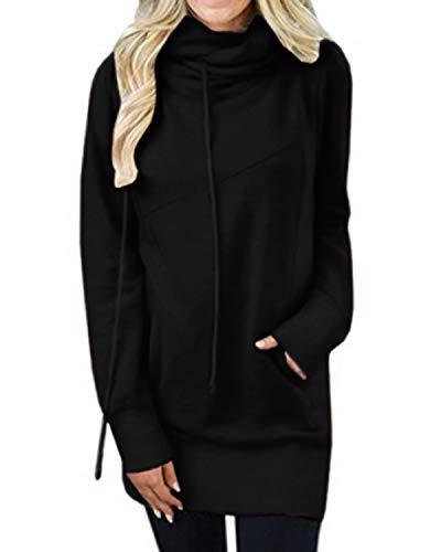 Kidsform Sweat-Shirt Femme à Capuche Pull-Over Femme à Manches Longues Tunique Longue Col Haut avec Poches Casual V Noir 40/42 EU