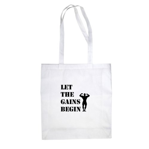 Let the Gains Begin - Stofftasche / Beutel, Farbe: weiß