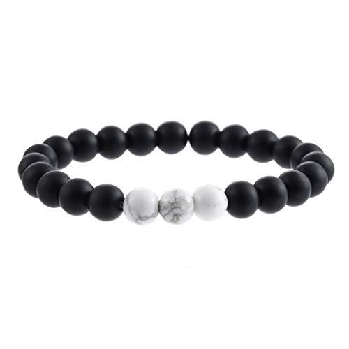 UINGKID Damen-Armband Charm Kreative Stilvolle Männer Frauen 8mm Lava Rock Chakra Perlen elastische Naturstein ()