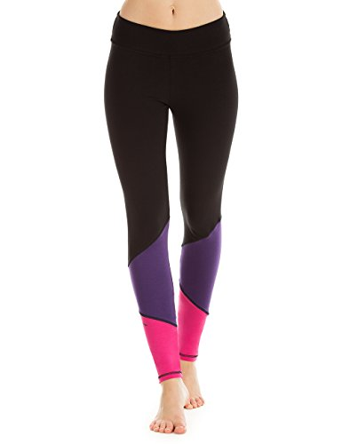 Winshape Damen Leggings Go for Your Colour Long Tights Freizeit Sport Yoga Workout, schwarz/lila/pink, M, WTL13