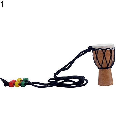 Halskette Geschenke für Mütter, Frauen, Mädchen, Holz Pro Mini Djembe afrikanische Hand Trommel Halskette Bongo Percussion Instrument - 1#, silber