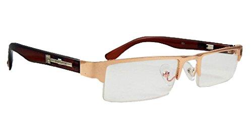 ELS Rectangular Half Rim Golden,Brown Unisex Spectacle Frame Transparent Eyewear (001-GOLDEN-BROWN-SHINY)