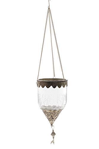 DARO DEKO Crackle Glas Teelicht Hänger Ø 10,5cm - Crackle Glas Antik