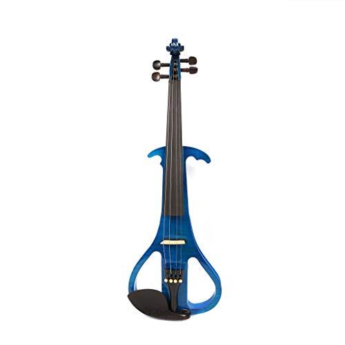 Volle Größe 4/4 Stumm Massivholz Ahorn Mit Bogen 4 String Elektrische Violine, Hard Shell Tuner Kopfhörer Kolophonium Audio Kabel ( Color : Blau ) -