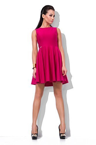 Futuro Fashion Magnifique Uni Femmes élégant Robe Patineuse Col Bateau Sans manches Soirée Mode 8-16 UK FJ01 Rose
