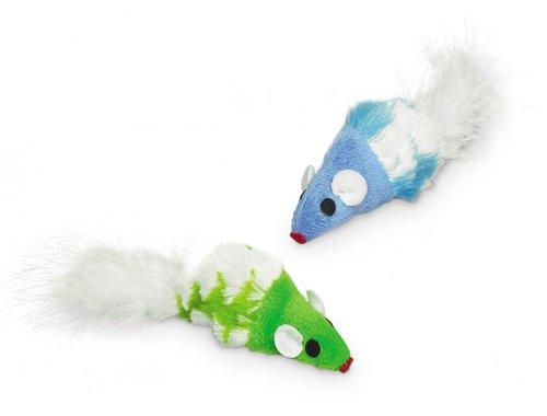 Nobby Plüsch Maus mit Federn, mit Catnip  2 St, 7 cm
