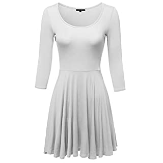 Awesome21 Women's Solid Scoop Neck 3/4 Sleeve Mini Dress - White -