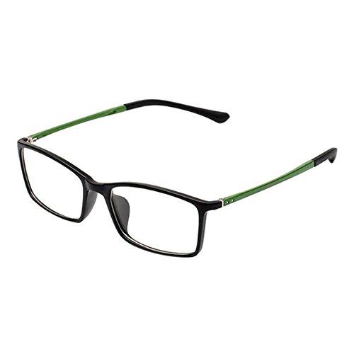 Haodasi Retro TR90 Kurzsichtigkeit Hochauflösend Brille Schlank Felge Computer Goggles Kurzsichtig Linsen für Studenten(Stärke -4.5, Schwarz Felge Grün Tempel) (Diese sind nicht Lesen Brille)