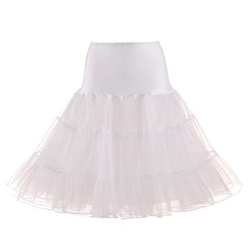 Andouy Damen Tutu Rock Tüll Organza A-Linie Petticoat Balletttanz Layred Kostüm Dress-up Größe 34-52(40-42,Sahne)