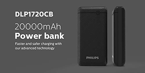 Best philips power bank in India 2020 Philips DLP1720CV Fast Charging Power Bank 20000mAh with Lithium Polymer Battery Black (Twin USB Output Port 3.1A, with Micro USB and Type c Input Image 6
