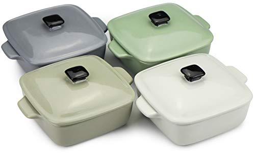 COM-FOUR® 4x Cacerola con tapa de cerámica en diferentes colores (¡la selección de colores varía!) (04 piezas - 200 ml)