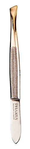 TITANIA Solingen Pinzette, Schräg, Spitze Vergoldet, 1er Pack (1 x 12 g) - Schräge Spitze Pinzette