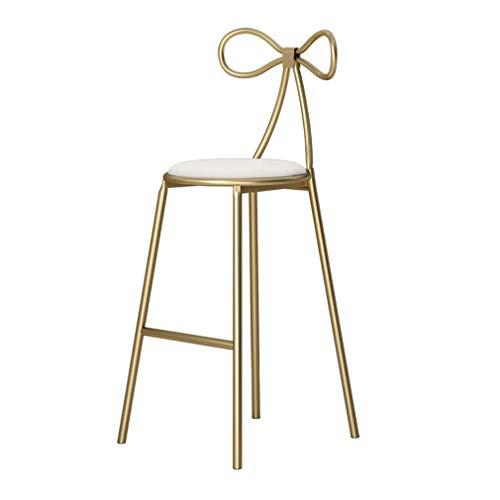 Hohe Dining Chair (SACKDERTY-Stühle Dining Chair Barhocker -Pub Barhocker Höhe: 65cm 75cm-Wohnzimmermöbel Hocker mit goldenen Eisenbeinen und Rückenlehne Soft Chair)