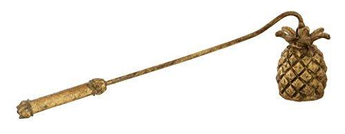 VINTAGE LEAVES HEATHER PURPLE GOLD ENAMEL METAL CANDLE SNUFFER 17.5X3.6X5.1CM
