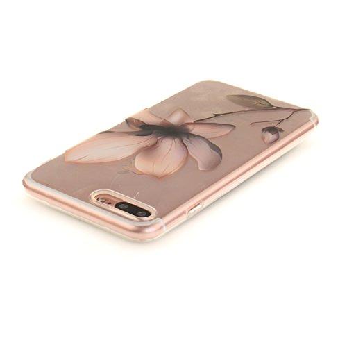 """Apple iPhone 7 Plus 5.5"""" hülle,MCHSHOP Ultra Slim Skin Gel TPU hülle weiche Silicone Silikon Schutzhülle Case für Apple iPhone 7 Plus 5.5"""" - 1 Kostenlose Stylus (Halbe weiße Blüten) Magnolie"""