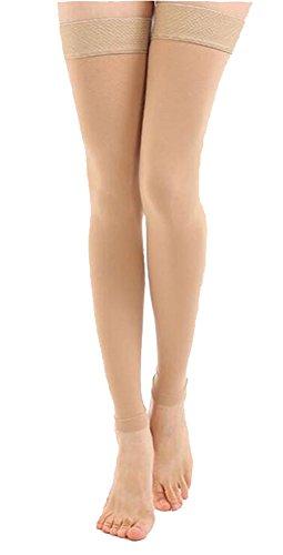 Oberschenkel Kompressionsschläuche, Blickdicht, Best Bein Unterstützung Schlauch 20-30 mmHg Gradient Kompression mit Silikonband, TOFLY Footless Abgestufte Medizinische Stützstrümpfe Kompressionsstrümpfe, Behandlung Schwellungen, Krampfadern, Ödeme. 1 Paar Nude S