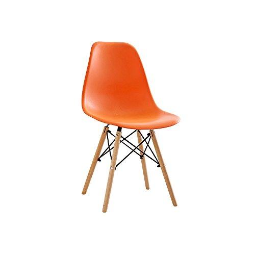 XUERUI Chaise PP + Bois + Métal 50 CM * 40 CM * 82 CM Blanc, Bleu, Marron, Orange, Rose, Vert, Jaune, Noir, Rouge, Gris Meubles Cuisine Maison (Couleur : Orange)