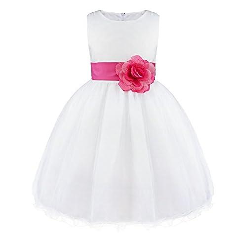 Freebily Kinder Mädchen Kleid festlich Prinzessin Blumenmädchenkleider Hochzeit Partykleid Festzug Sommerkleid Gr. 92-164. Rose 128