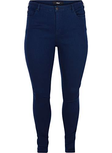Zizzi Damen Amy Jeans Slim Fit Jeanshose Stretch Hose ,Blau,50 / 82 cm (Plus Jeans Size Groß)