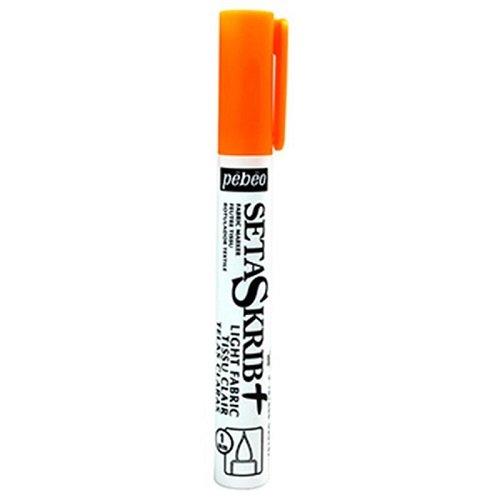 Pebeo SetaSkrib Tessuto Felt Tip Marker, arancio fluorescente