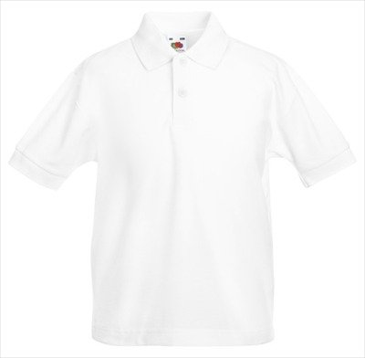 POLOSHIRT FRUIT OF THE LOOM KIDS 116 128 140 152 164 128,Weiß 128,White