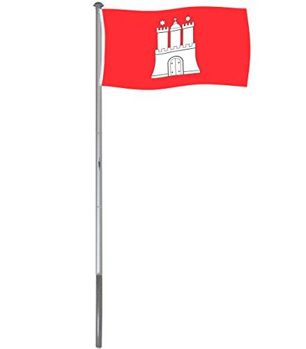 Brubaker Aluminium Fahnenmast Flaggenmast 6 m inklusive Deutschland Flagge + Hamburg Flagge 150 x 90 cm und Bodenhülse
