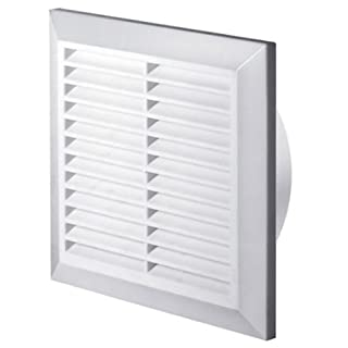 White Air Vent Grille 200mm x 200mm with Fly Screen and Round Ducting Collar 150mm / 6