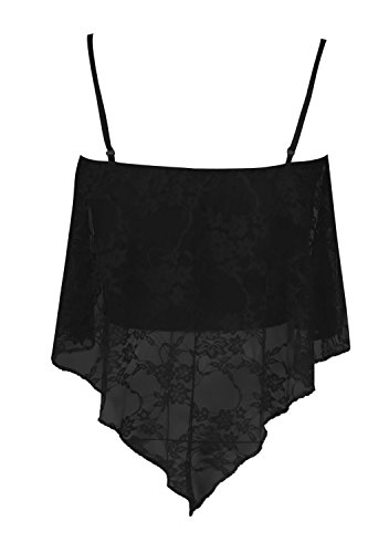 Fast Fashion - Vest Haut Dentelle Florale Frill Hanky À Bretelles - Femmes Noir