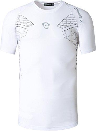 jeansian Uomo Asciugatura Rapida Sportivo Casuale Sports Fashion Men's Sport Tee T-Shirts Tops Running Camicie LSL3225 LSL014_White