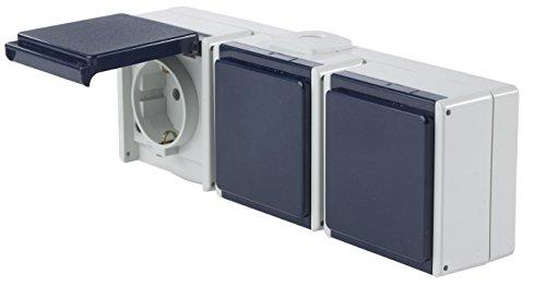 as - Schwabe Aufputz Steckdose 3-Fach mit 3 Leitungseinführungen, IP 54 Aussenbereich, grau, 62464