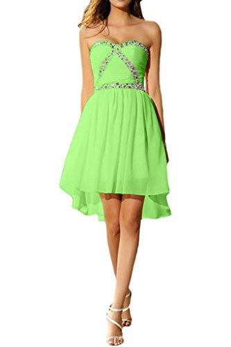 Ivydressing Damen Liebeling Kurz Steine Herzform Chiffon Promkleid Cocktailkleid Brautjungfernkleis Abendkleid Grün