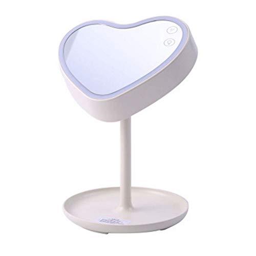 Aufladbarer LED-Licht-Herz-geformter Kosmetikspiegel mit Lampe mit Sockel USB, der eine 180 ° -Drehung auflädt,White -