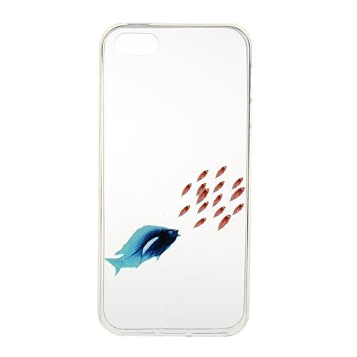 iPhone 5/5S/SE Coque, Etsue pour iPhone 5/5S/SE Vogue Gel Housse étui de téléphone mobile ,TPU Silicone Matériau Transparente Ultra Mince Supérieur Semi Transparent Doux Coque [Flamant] Motif pour iPh Poisson