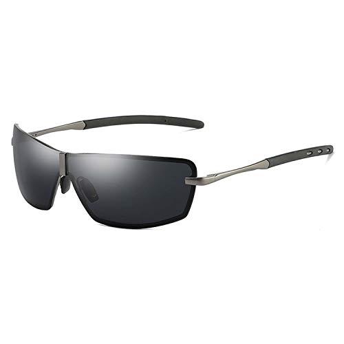 DEER HOUSE Sonnenbrille für Herren, polarisiert, UV400, rechteckig, verspiegelt, Metall Gr. Einheitsgröße, Gun