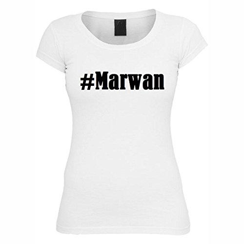 T-Shirt #Marwan Hashtag Raute für Damen Herren und Kinder ... in den Farben Schwarz und Weiss Weiß