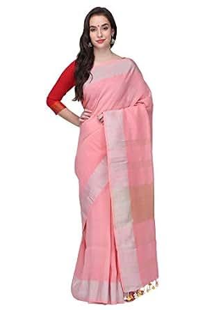 82f2c8cbcb24a4 ... The Weave Traveller Handloom Pure Linen By Linen Women S Saree (Pink)