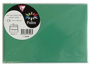 POLLEN Sachet de 5 enveloppes Pollen 114x162 vert sapin