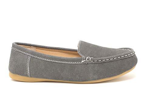Fenside Country Clothing Damen Mokassin-Schlupfschuhe aus echtem Wildleder, bequem, flach, Grau - grau - Größe: 36 EU - Wildleder Deck Shoes