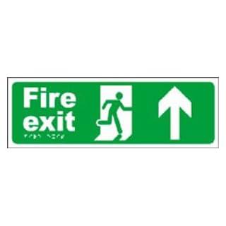 Fire exit running man arrow ahead.