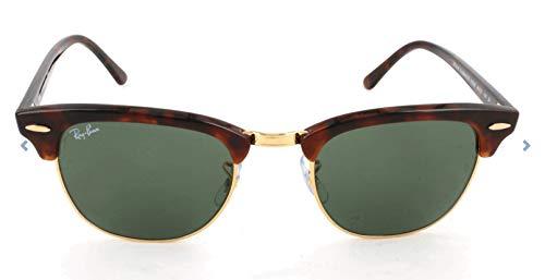 Ray-Ban Unisex Sonnenbrille Clubmaster, Braun (Gestell: Havana, Gläser: grün klassisch W0366), Medium (Herstellergröße: 49)