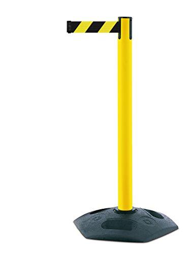 35-d4Heavy Duty Post mit einer schwarz Gummi und gelb und schwarz Chevron Gurtband mit einem Anti Tamper Klebeband Ende, 2,3m, gelb (Gelb Chevron)