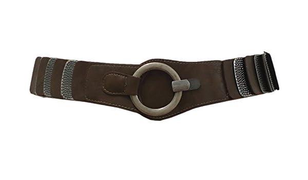 74293b2da1186a Damen Stretchgürtel Braun Leder Metall Rillen Taillengürtel Hüftgürtel SA-796:  Amazon.de: Bekleidung