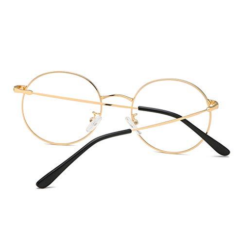 Kongnijiwa Unisex Retro Runde Brillen Jungen Mädchen Metallrahmen Brille freie Objektiv Augen Glas Zubehör