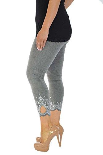 Neu Damen Übergröße Laser Schnitt Gamaschen Frau Ladies Plus Size Leggings mit Loch Laser Cut Nouvelle Collection Anthrazit