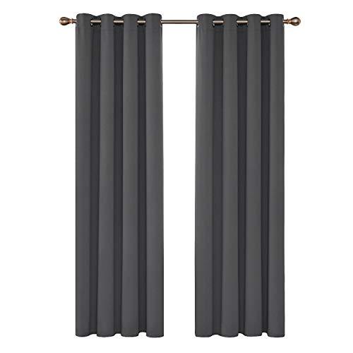Deconovo Blickdicht Gardinen mit Ösen für Schlafzimmer Thermogardinen Vorhang Blickdicht 245×140 cm Dunkelgrau 2er Set
