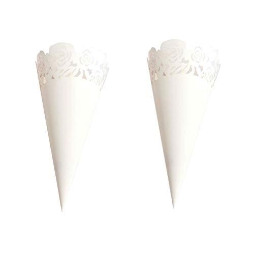 Toyvian 50 stücke aushöhlen Rose Muster Hochzeit Konfetti Kegel Papier Zapfen Bouquet Süßigkeiten Schokolade Taschen Hochzeit Gunsten (Weiß) - Zapfen Essen Papier