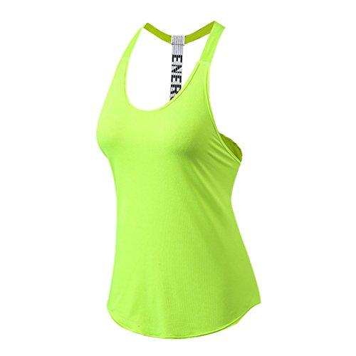 Byqny Camisola De Mujer Tirantes Forma De T Hueco Trasero Corriendo Entrenamiento Tank Yoga Club De Fitness Tanktops Deportes Ocio T-Shirt Verde Fluorescente L